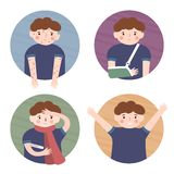 A boy and a rash. A boy and a broken arm. A boy and a cold. A healthy boy. Set of vector illustration in cartoon style vector illustration