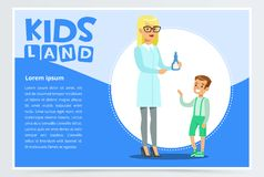 Boy with rash visiting family doctor in clinic. Cartoon character of woman therapist and sick patient. Medical service concept. Modern vector illustration in Stock Photo