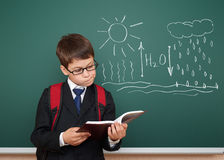 Boy read book about water circulation Royalty Free Stock Image