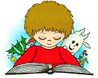 Boy readind the book of fairy-tales, imagination vector illustration