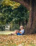 Boy readind under the big linden tree Royalty Free Stock Images