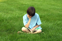 Boy Reading. Book in the grass Stock Photography
