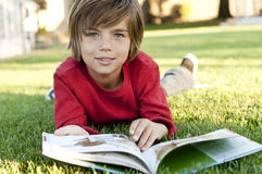 Boy reading Royalty Free Stock Photo