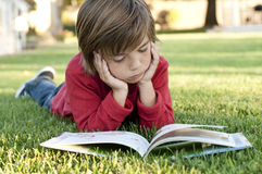 Boy reading stock photography