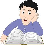Boy reading. Boy thinking and reading a book Stock Illustration