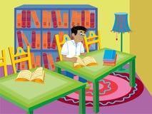 Boy reading royalty free illustration