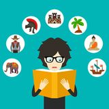 Boy reading an adventure book. Vector Illustration Stock Images