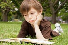 Boy reading a book. Cute little boy reading a book in a park Royalty Free Stock Photos