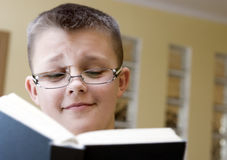 Boy reading book. A clever boy wearing glasses, reading a book. Amazed and cheerful  expression on his face Royalty Free Stock Photo