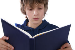 Boy reading book. On white background Royalty Free Stock Photography