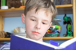 Boy reading book. Schoolboy boy reading book royalty free stock photo