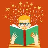 Boy reading a book cartoon illustration Stock Photography