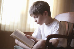 Boy Reading Book On Chair At Home Stock Photography