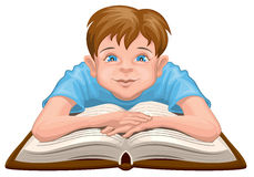 Boy reading book. Child sits in front of an open book. On white vector illustration Stock Images