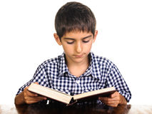 Boy reading book on desk Royalty Free Stock Images