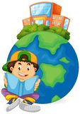 Boy reading book with earth icon. Illustration royalty free illustration