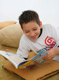 Boy reading a book on the floor. Boy in a room reading a book over a carpet. He is smiling and looks amused. Visit my gallery for more images of children Stock Photo