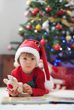 Boy, reading a book in front of a Christmas tree. Royalty Free Stock Image