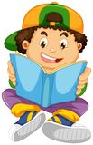 A boy reading a book. Illustration royalty free illustration