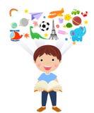 Boy reading book vector illustration
