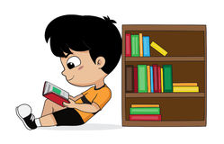 Boy reading a book in the library. Vector and illustration royalty free illustration