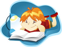 Boy reading a book. At night  cartoon illustration Royalty Free Stock Photo