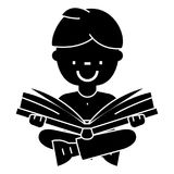 Boy reading book, open book, sitting  icon, vector illustration, sign on isolated background Stock Images