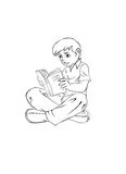 Boy reading a book outlined for coloring Royalty Free Stock Images