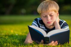 Boy reading a book in the park Royalty Free Stock Photo