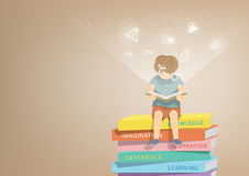 Boy reading a book on a pile of books, brown background and icon Royalty Free Stock Photo