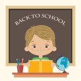 Boy reading a book at school. Happy boy reading a book at school. Little boy studying. Back to school vector cartoon illustration Royalty Free Stock Photos