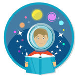 Boy reading a book. Science fiction, sci-fi Stock Photo
