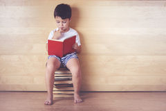 Boy reading a book. Sitting on the floor Royalty Free Stock Photo