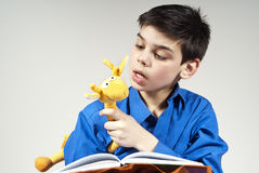 Boy reading a book with a toy in the background. Boy reading a book with a soft toy in the background Royalty Free Stock Photo