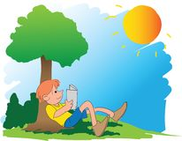 A boy reading book under tree Stock Images