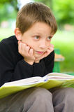 Boy reading a book. Young boy reading a book  at the park Stock Photography