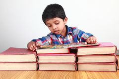 Boy reading books Royalty Free Stock Photo