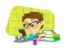 Boy reading a digital book Royalty Free Stock Images