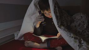 Boy reading with a flashlight stock video