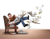 Boy Reading Flying Books in Chair on White Royalty Free Stock Photography