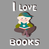 Boy reading: I love books Stock Images