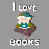 Boy reading: I love books. Schoolboy / boy reading: I love books text Stock Images