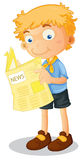 A boy reading news. Illustration of a boy reading news on white Stock Image
