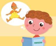 Boy reading Pinocchio book vector Royalty Free Stock Photos