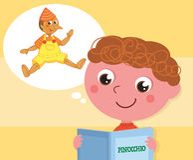 Boy reading Pinocchio book vector. Cartoon child reading italian tale Pinocchio, vector illustration Royalty Free Stock Photos