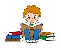 Boy reading surrounded by books Royalty Free Stock Images