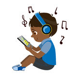 Boy Reading Text From Tablet And Listening To Music Through Headphones, Part Of Kids And Modern Gadgets Series Of Vector stock illustration