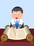 Boy reading the Torah. A boy reading the Torah. Useful also for Bar Mitzvah invitation card or educational purpose. Eps file available Royalty Free Stock Images