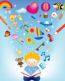 Boy reading with toys. Vector character illustration of a child reading a magic book exploding with images Royalty Free Stock Image