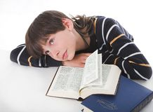 Boy reads book. Small genius boy reads book Royalty Free Stock Photo